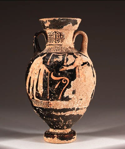 A LUCANIAN RED-FIGURE AMPHORA