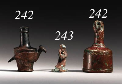 TWO BACTRIAN BRONZE OBJECTS