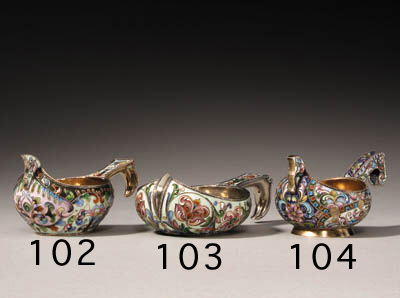 A silver-gilt cloisonn enamel Kovsh