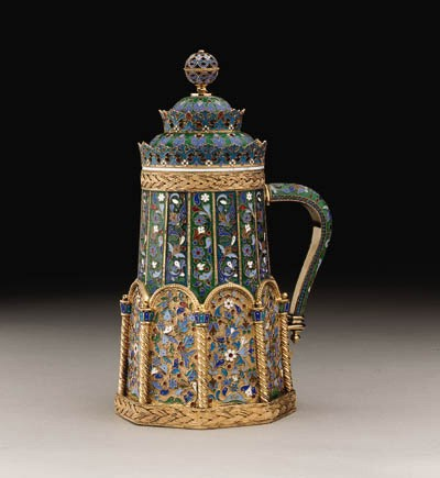A silver-gilt cloisonn and pli