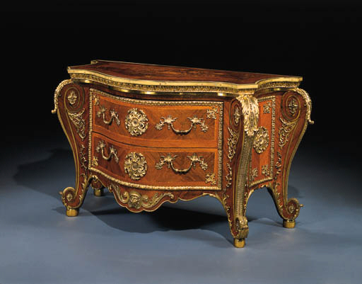 A GEORGE III ORMOLU-MOUNTED ROSEWOOD, FRUITWOOD AND MARQUETRY BOMBE COMMODE