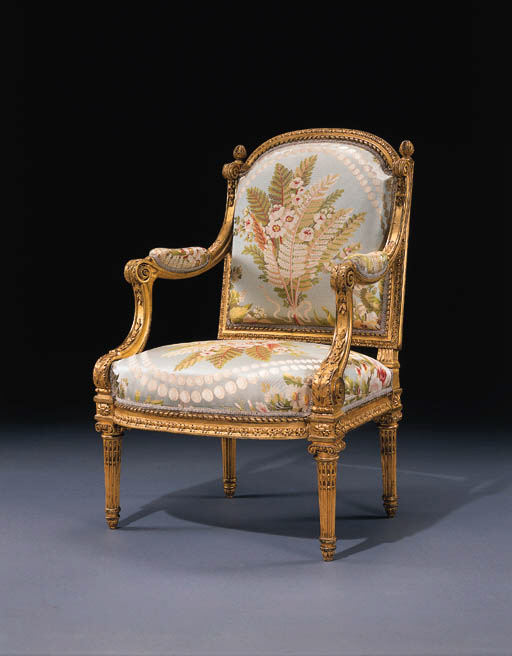 A LOUIS XVI GILTWOOD FAUTEUIL