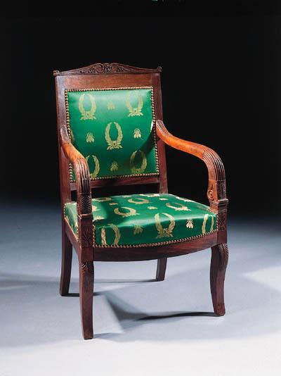 A pair of mahogany fauteuils