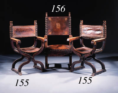 A set of three stained oak ope