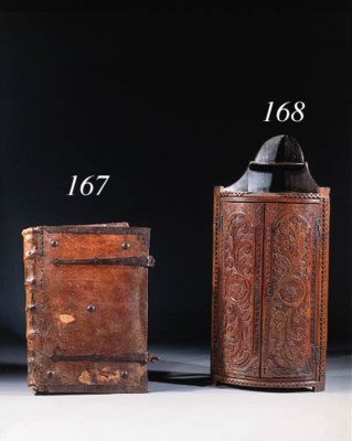 A iron-mounted leather book co