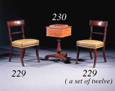 A set of twelve mahogany dinin