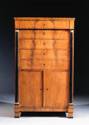 A German mahogany and ebonised