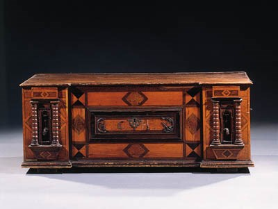 A South German oak and marquet