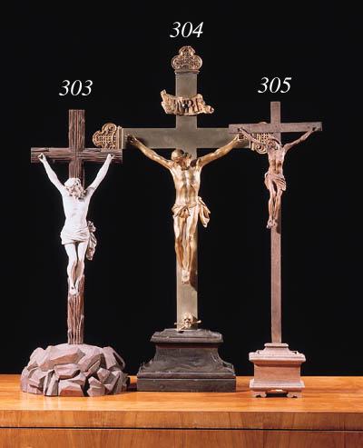 A carved limewood Crucifix