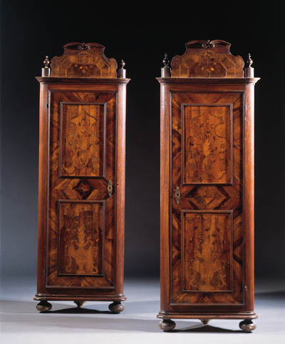 A pair of german walnut and ma