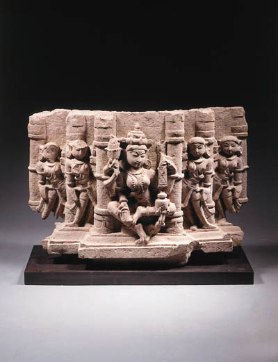 a central indian sandstone stele depicting lakshmi