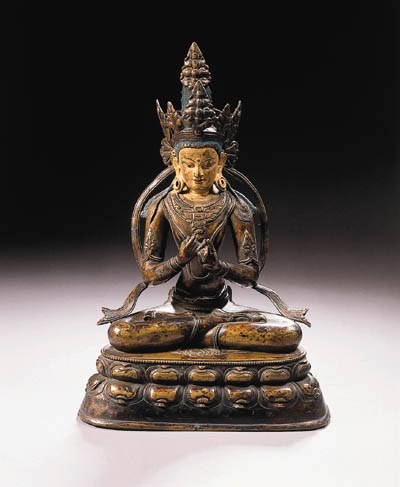 a tibetan bronze figure of vai