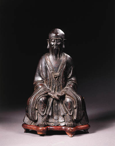 a chinese bronze figure of a s