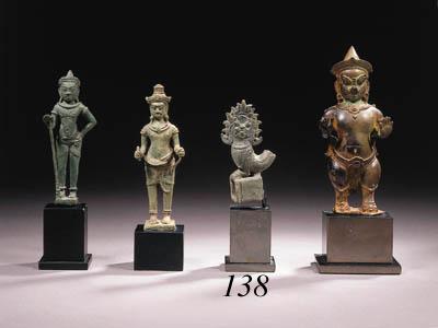 two khmer bronze seals, pin, o