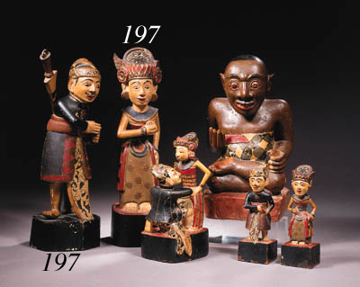 a pair of balinese polychrome