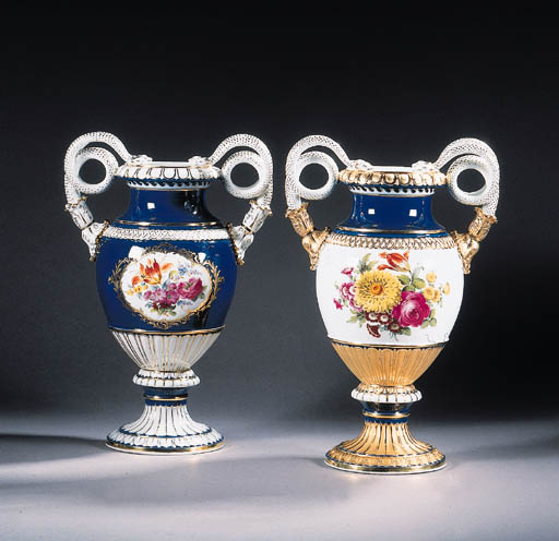 two similar meissen two-handle