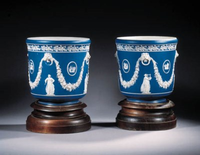 a pair of wedgwood-style jaspe