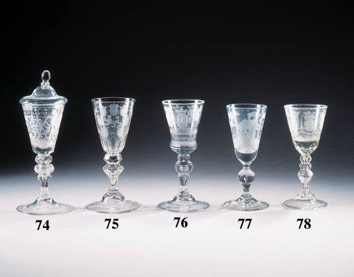an engraved cut-glass goblet