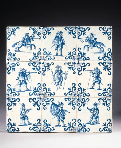 nine blue and white tiles pain