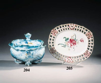 a brussels faience tureen and