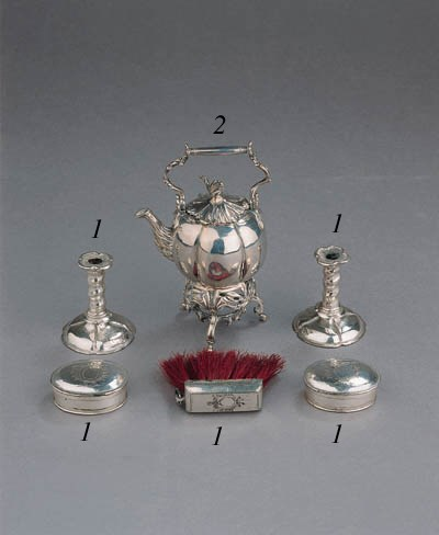 A rare five piece Dutch silver