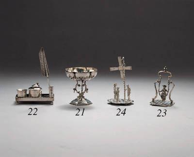 A Dutch silver miniature inkstand