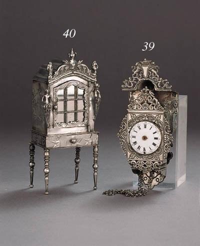 A Dutch silver miniature clock