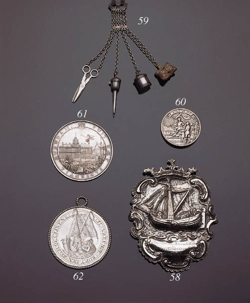 A German silver medal, a metal-gilt snuff box and a miniature with silver scene