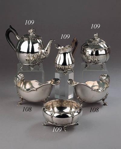 A four-piece Dutch silver tea service