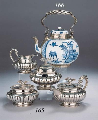 A Dutch three part silver tea
