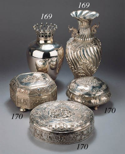Two German silver vases