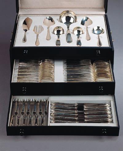 A Dutch silver flatware service