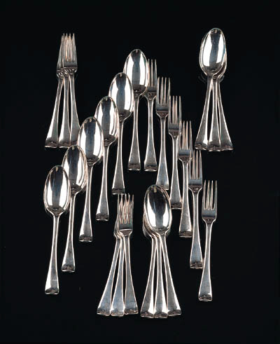 A fine set of twelve Dutch table forks and spoons