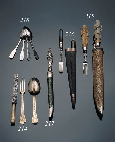 A matching set of silver-gilt