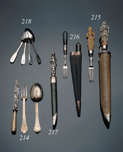 A chagreen case with fork and