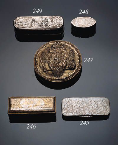 A Dutch silver and mother-of-pearl tobacco box