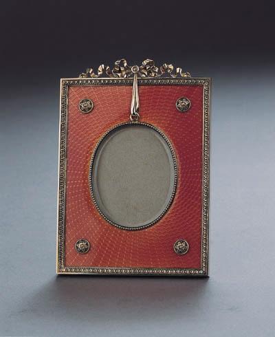 A silver-gilt guilloche enamel photograph frame