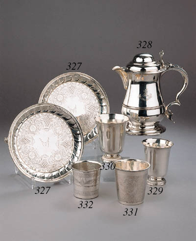 A pair of German silver salvers
