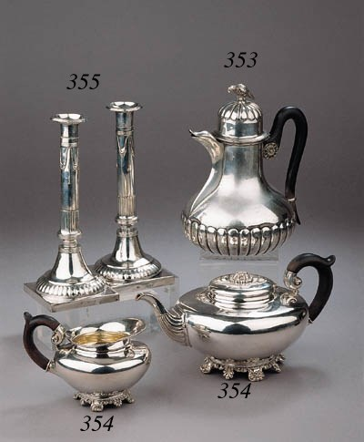 A German silver teapot and mil
