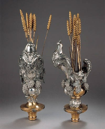 A pair of silver and gilt-meta