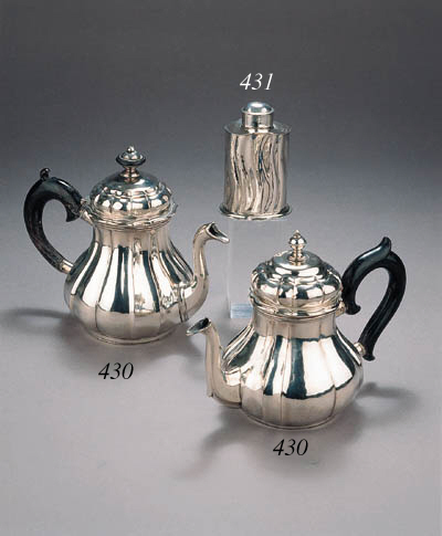 Two German silver tea pots