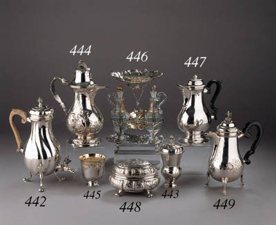 A German four-piece silver and