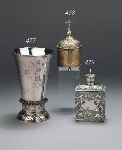 A Dutch silver-gilt pixis