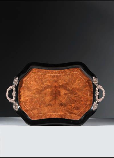 A silver-mounted and mahogany