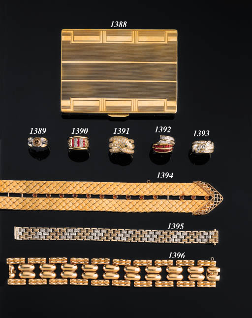 A 14K GOLD AND DIAMOND BRICKLI