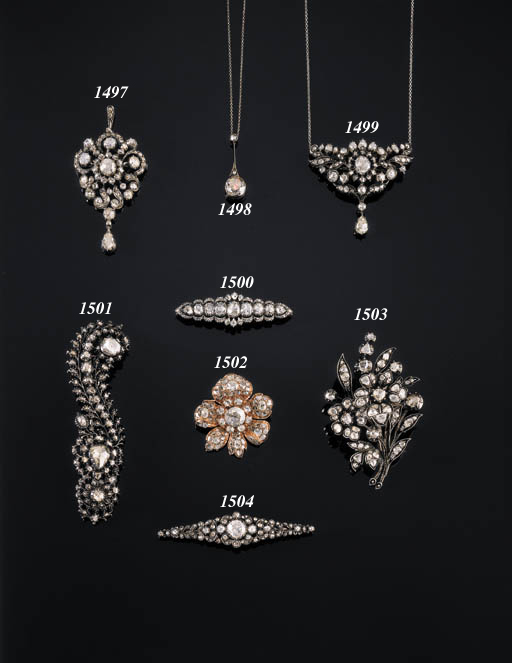 TWO ROSE-CUT DIAMOND BROOCHES