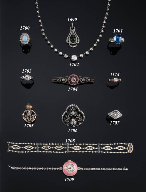 AN ELEGANT DIAMOND, ENAMEL AND SEED-PEARL BRACELET