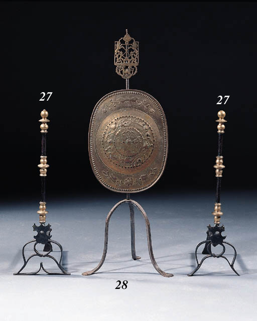 A pair of Dutch brass and cast