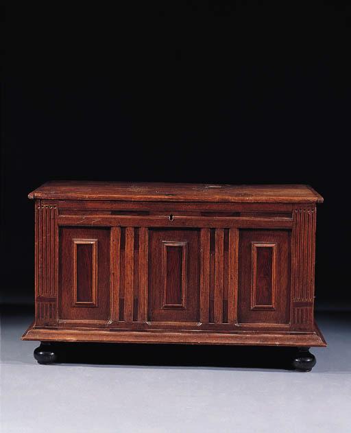 A Dutch oak and walnut chest