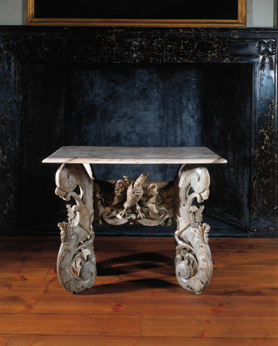 A Dutch marbleised side table